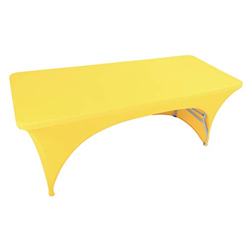 WXYSHOME 8FT Open Back Yellow Rectangular Table Cover Cocktail Tablecloth with Stretch Spandex Fitted Table Cover for Bar Table, Wedding Table, Cocktail Table, Message Table, Kitchen Table