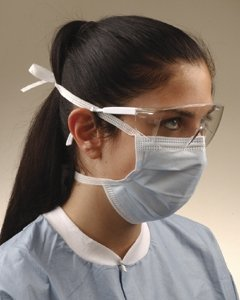 CROSSTEX SURGICAL MASK WITH TIE ON LACES Mask w/tie on laces, Latex Free, Blue, 50/bx, 6 bx/cs