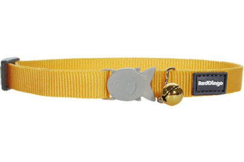Red Dingo Classic Cat Collar, One Size Fits All, Yellow, My Pet Supplies
