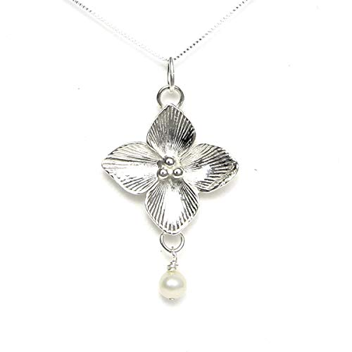 """Celtic Qua trefoil Flower Necklace - Story Card: Symbol of Good Luck - Handcrafted in USA Sterling Silver 20"""" Chain"""