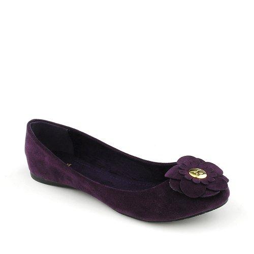 Flat Shiekh Womens Casual Factor Shiekh Womens Purple S Suede PU FwYSx5