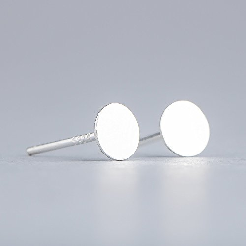 Small 5mm Round Sterling Silver Circle Disc Stud Earrings - Smooth and Flat Nail Head Mirror (Circle Silver Stud)