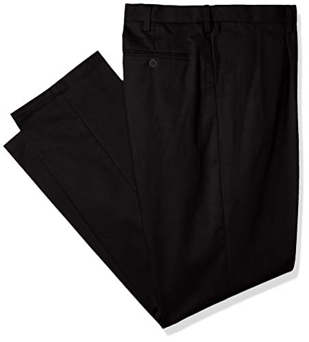 Classic Fit Pleated Khaki - Dockers Men's Big and Tall Classic Fit Signature Khaki Lux Cotton Stretch Pants - Pleated D3, Black, 42 34
