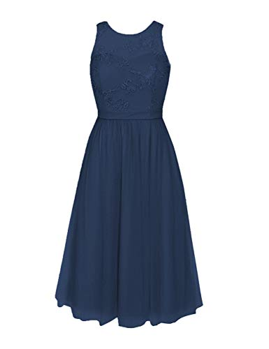 Tulle Short Bridesmaid Dresses Lace Appliques Cocktail Prom Dress Homecoming Evening Gowns US 14 Navy