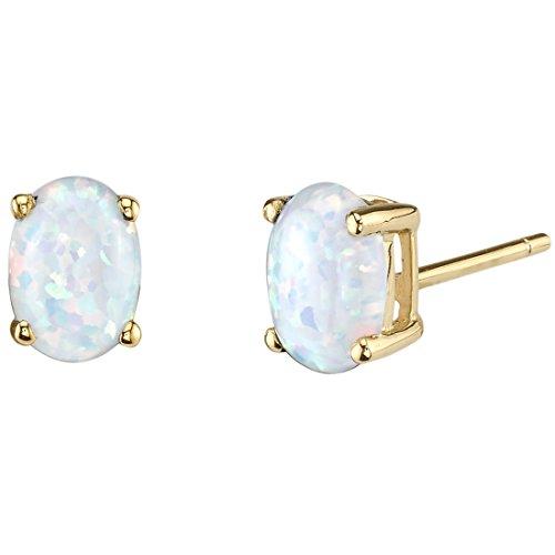 14k Gold Oval Cut Stud - 14K Yellow Gold Oval Shape Created Opal Stud Earrings