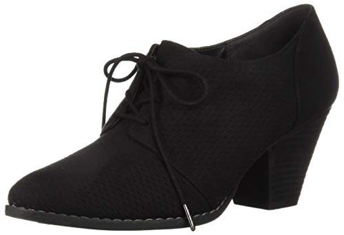 Dr. Scholl's Shoes Women's Credit Ankle Boot, Black Microfiber, 6.5 M US (Heels Microfiber Black)
