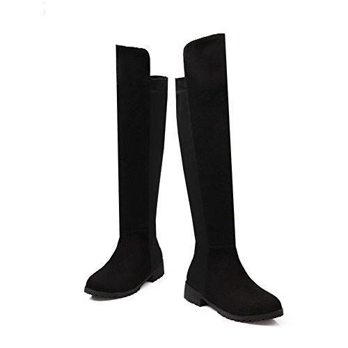 AllhqFashion Mujeres Sin cordones Puntera Redonda Mini Tacón Caña Alta Botas con Pespunte Negro
