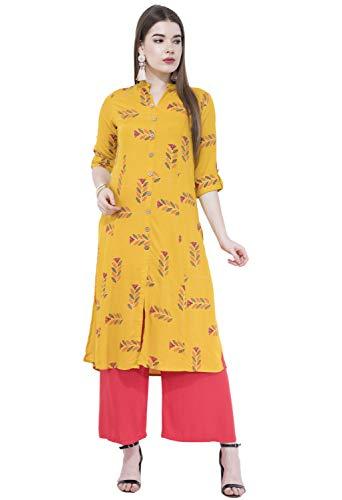 Lagi Women Designer Straight A-Line Kurta Kurtis top Tunic Dresses Polly Silk Rayon Cotton Kurtis Kurta (L, Yellow (UG17A))