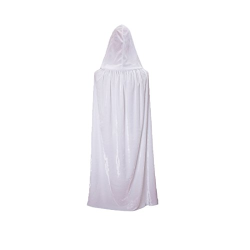 VGLOOK Kids Hooded Cloak Cape for Christmas Halloween Cosplay Costumes Ages 8 to16 White