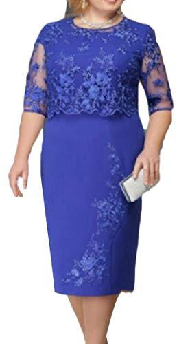 Domple Femmes En Faux Twinset 2 Pièces Coutures En Dentelle Coutures Grande Robe De Taille Plus Bleu Taille
