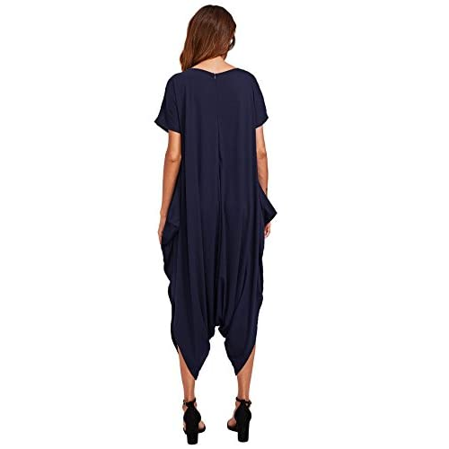 SheIn Women's Casual V Neck Short Sleeve Loose Harem Jumpsuit Romer