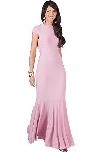 KOH KOH Plus Size Womens Long Cap Short Sleeve Formal Sexy Evening Prom Cocktail Bridesmaids Wedding Party Guest Tube Flowy Cute Fishtail Gown Gowns Maxi Dress Dresses, Dusty Pink 3XL (Plus Size Fancy Dress Outfits)