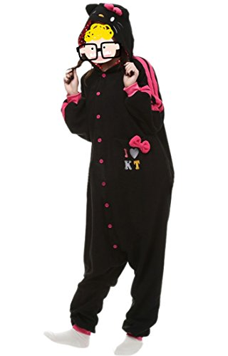 [JudyBridal Unisex Cartoon Cat Onesie Adult Pajamas Cosplay Costume XL Black] (Plus Size Tiger Costumes)