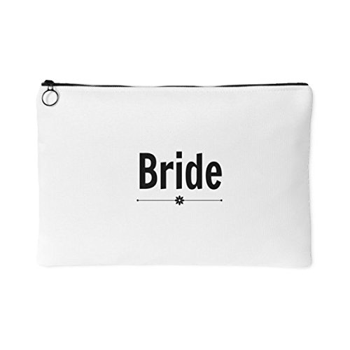 Bride canvas accessory pouch-bridal party white make-up bag-poly cotton cosmetic bag travel toiletry gift women custom