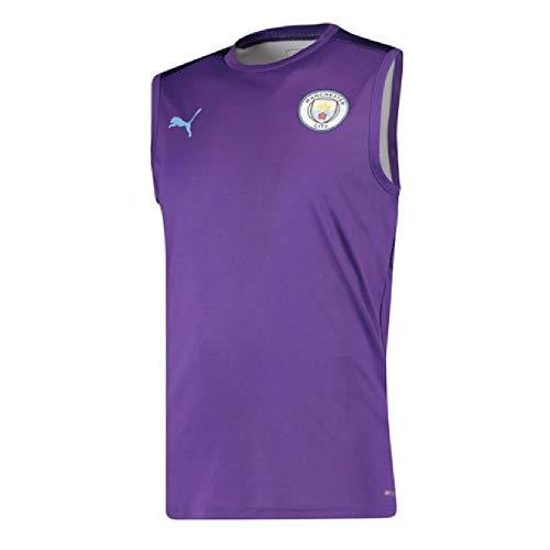 PUMA 2019-2020 Manchester City Sleeveless Football Soccer T-Shirt Jersey (Purple)