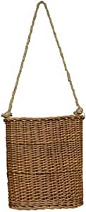 Willow Hanging Basket Flat Woven Wicker Natural Finish Rope Handle Country Primitive Wall Décor