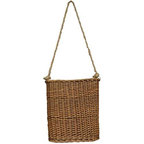 Delightful Willow Hanging Basket Flat Woven Wicker Natural Finish Rope Handle Country  Primitive Wall Décor