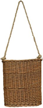 (Willow Hanging Basket Flat Woven Wicker Natural Finish Rope Handle Country Primitive Wall)