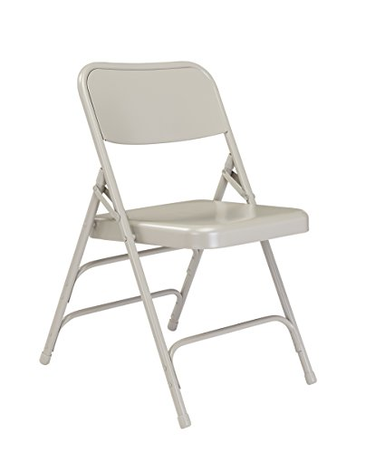(4 Pack) NPS 300 Series Deluxe All-Steel Triple Brace Double Hinge Folding Chair, Grey