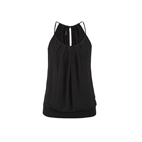 (ShenPr Women's Pleated Sleeveless Round Neck Loose Fit Racerback Workout Tank Top (XL, Sling_Black))