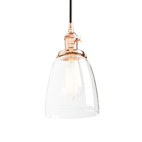 Light Pendant Copper (Phansthy Vintage Hanging Light Bell Clear Glass Industrial Pendant Light Fixture)