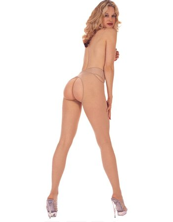 Sheer Fantasy Suspender Crotch Less Pantyhose - ONE SIZE