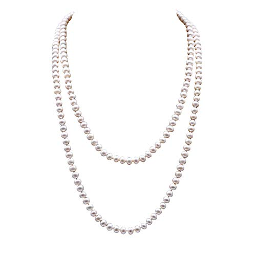JYX Classic Near-Round White Cultured Freshwater Pearl Necklace Endless Sweater Necklace 48