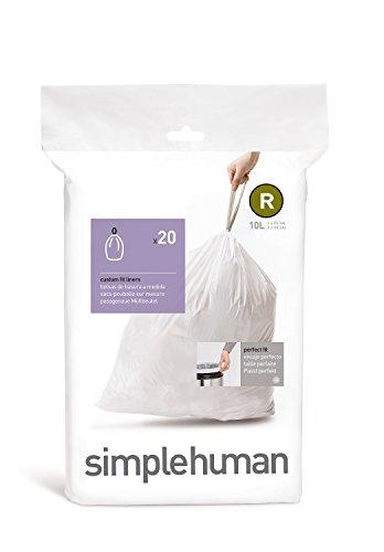simplehuman Code R Custom Fit Drawstring Trash Bags, 10 L / 2.6 Gallon, 1 Refill Pack (20 ()