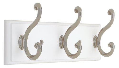 - Liberty 129854 10-Inch Hook Rail/Coat Rack with 3 Scroll Hooks, White and Satin Nickel