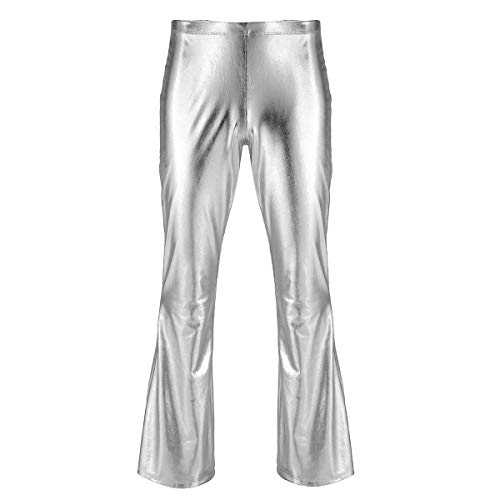 inhzoy Men's Shiny Metallic Fashion Dance Pants Holographic Disco Flared Pants Bell Bottom Trousers Silver Large