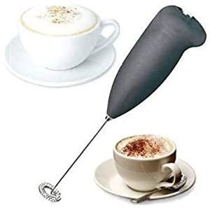 Collapsible Electric Handheld Milk Wand Mixer Frother For Latte Coffee Hot Milk Hand Blender, (Black)