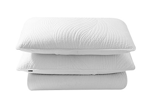 Brielle Stream Quilt and Sham Set, King, White (Brielle Collection)