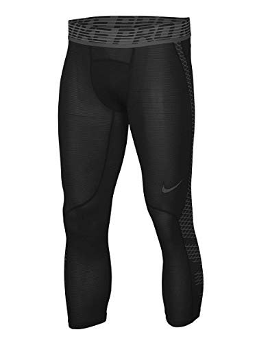 NIKE Men's Pro Hypercool 3/4 Black Tights 932411-010, Black / Grey, ()