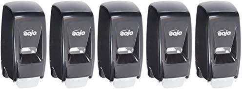 Gojo 800 Series Bag-in-Box Lotion Soap Push-Style Dispenser, Black, Dispenser 800 mL Lotion Soap Refills - 9033-12 (5 Pack) by Gojo (Image #1)