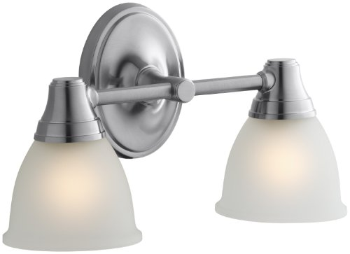 KOHLER K-11366-G Forté Transitional Double Wall Sconce, Brushed Chrome Collection Double Wall Sconce