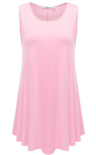 JollieLovin Womens Sleeveless Comfy Plus Size Tunic Tank Top with Flare Hem - Pink, L