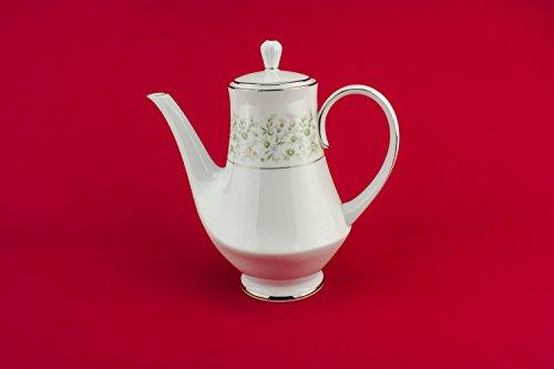 Luxurious Green Noritake Porcelain COFFEE POT Modernist Rare Vintage Large Savannah Japanese Late 20th Century LS