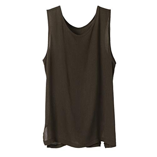 (Bsjmlxg 2019 New and Hot Men's Casual Basic Vest Solid Color Loose Classic Tops Fresh Short Sleeve Comfortable Tee Shirt Coffee)