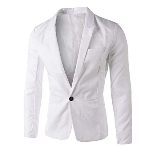 TWGONE Charm Men's Casual Slim Fit One Button Suit Blazer Coat Jacket Tops Men Fashion(Medium,White) ()