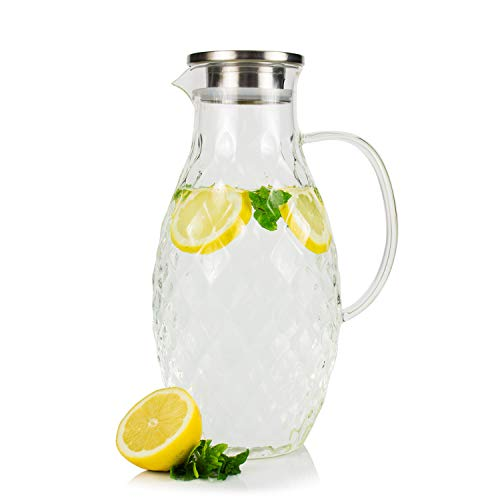 Large Glass Pitcher with Lid and Spout - 100 Ounces Big Cold and Hot Water Carafe with Unique Thick Glass Diamond Pattern, Beverage and Water Pitcher for Homemade Iced Tea and Juice. ()