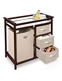 Modern Changing Table with 3 Baskets and Hamper - Color: White BOBEBE Online Baby Store From New York to Miami and Los Angeles