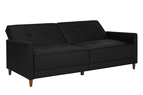 DHP Andora Coil Futon Upholstered in Faux Leather with Wood Legs, Modern Design, Converts to Sleeper, Black