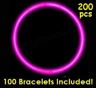 """Glow Sticks Bulk Wholesale Necklaces, 100 22"""" Pink Glow Stick Necklaces +100 Free Assorted Glow Bracelets! Bright Color, Glow 8-12 Hrs, Connector Pre-Attached, Sturdy Packaging, GlowWithUs Brand"""