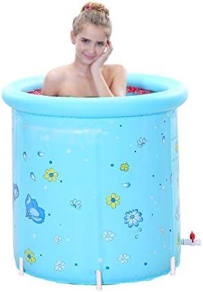 FQ プラスチック製の浴槽ポータブル折りたたみインフレータブル、大人用大型自立型浴槽、丸型浴槽、青
