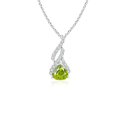 - Trillion Peridot Solitaire Pendant with Diamond Swirl in 14K White Gold (5mm Peridot)