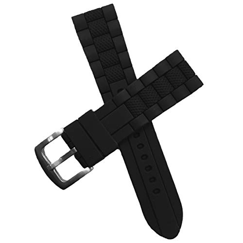 23mm Black Silicone Rubber Diver Watch Band Waterproof Sport Stainless Steel Buckle