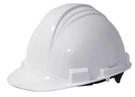 North White High Density Polyethylene Cap Style Hard Hat - 2-Point Strap Type - 4-Point Suspension - Ratchet Adjustment - Accessory Slots, Rain Gutters - A59R010000 [PRICE is per EACH]