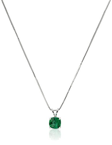 Sterling Silver Cushion-Cut Checkerboard Created Emerald Pendant Necklace (6mm)