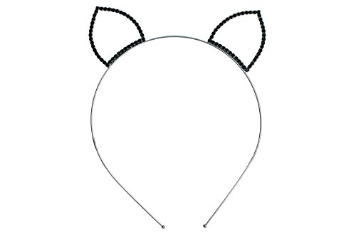 [Rosemarie Collections Women's Rhinestone Black Cat Ears Headband] (Devil Costume Party City)