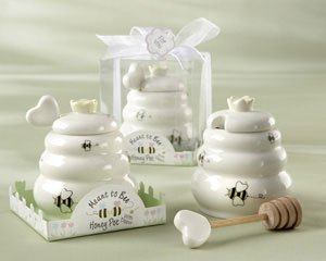 ''Meant to Bee'' Ceramic Honey Pot with Wooden Dipper - Set of 50